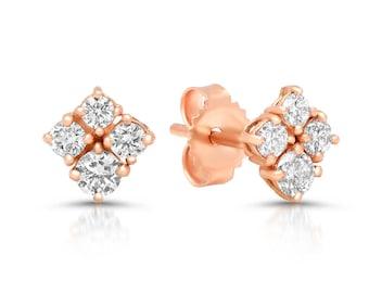 BONNE CHANCE Rose Gold and Diamond Clover Earrings