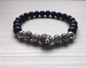Black Onyx bracelet 8mm / Skull / Swarovski element