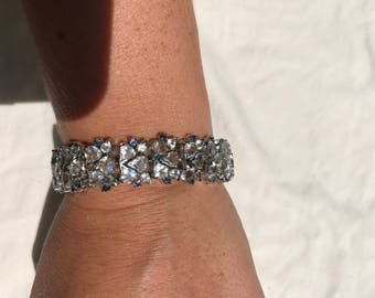 Vintage Sterling Silver and Sparkly Glass or Crystal White and Blue Bracelet - Gorgeous !