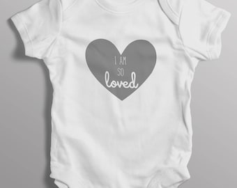 Personalised baby grow with i am so loved heart (bodysuit)