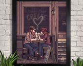 Coffee Love Illustration Giclee Art Print, Couple, Hipster, Coffee Shop, Autumn, Fall, Relationship , Wall Art, Home Decor, Valentines Day