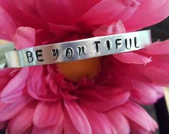 Handstamped BEyouTIFUL thin cuff bracelet