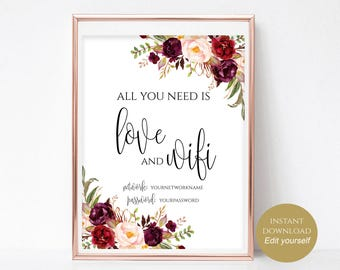 WIFI Password Sign Wifi Printable All You Need is Love and Wifi Wedding Printable Wedding Template Instant Download 4x6, 5x7, 8x10 Boho Chic