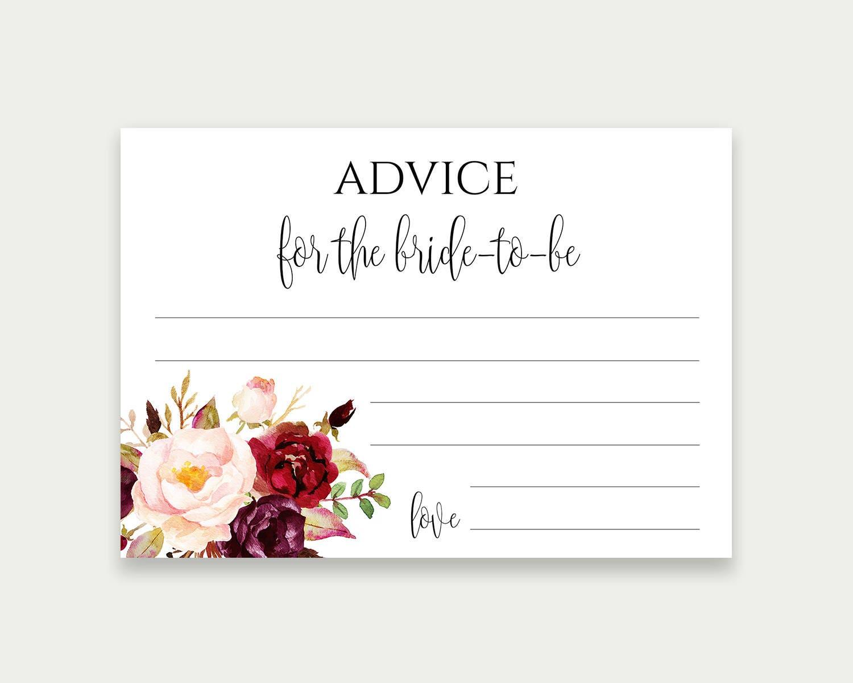 Advice Card Printable Wedding Advice Cards Editable Text Floral