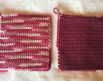 Happy Maroon Pot Holders/Trivet
