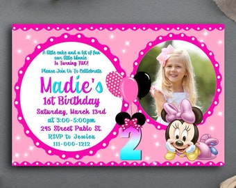 Minnie Mouse Birthday Invitation With Photo,Minnie Mouse Birthday,Minnie Mouse Birthday Invitation,Minnie Mouse Invite,Minnie Mouse