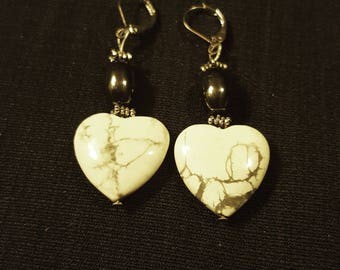 Black and Gray Jasper heart shaped earrings