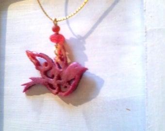 fluorescent red glitter resin Dove pendant