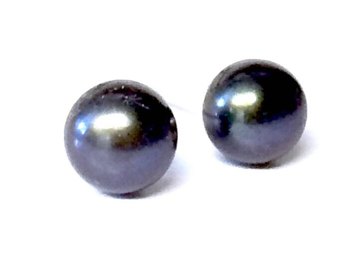 Large Peacock/Black Freshwater Pearl Stud Earrings