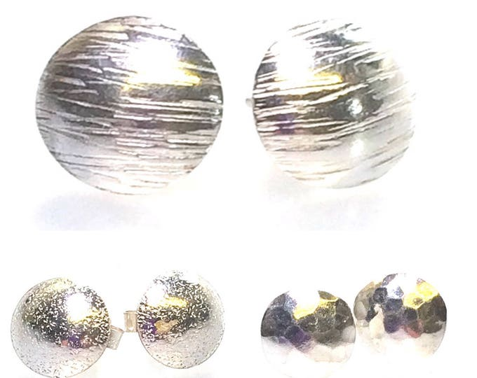 Convex Disc Stud Earrings (Choice of Textures)