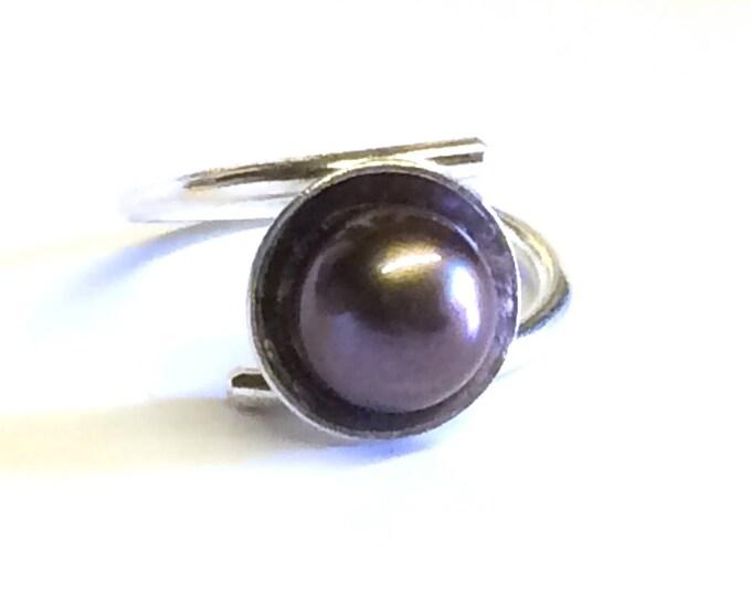 Large Black Freshwater Pearl Adjustable Ring