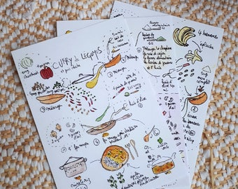 Pack of 5 cards drawn 10x15cm LaTchi vegetarian vegan recipes