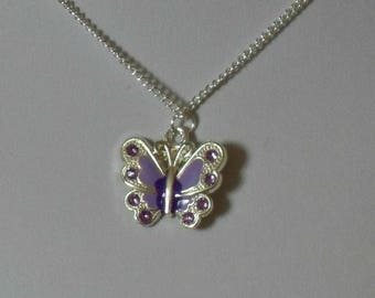Butterfly Necklace,Purple Butterfly Necklace,Tiny Butterfly Necklace,Butterfly Pendant,Purple Butterfly Pendant,Butterfly Jewelry