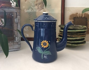Coffee pot blue enamel with floral decoration painted by hand by AG