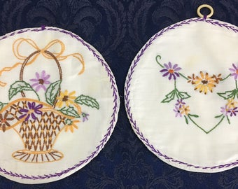 Lot of 2 Vintage Hand Crafted Embroidered Pot Holders Flowers - Basket