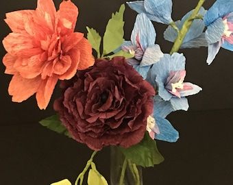 Crepe Paper Delphinium, Dahlia and Rose Flowers