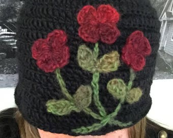 100 Wool Crochet Flapper Cloche in Black with flowers