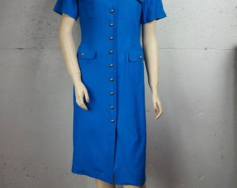 Argenti Royal Blue and Gold Button 100% Pure Silk Knee Length Dress Size 6 S M Small Medium