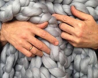 Wool Hugs Grey Chunky Knit Blanket. Merino wool blanket. Chunky knit throw. Knit blanket. Big knit blanket. Arm knit blanket. Mother's day