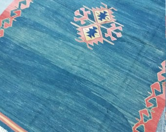 "Oushak Blue kilim Rug, Turkish Rug, 4'3""×6'3""feet,Home living,Vintage Rug, Area Rug,Anatolian kilim Rug, Kilim Rug,Rugs,"