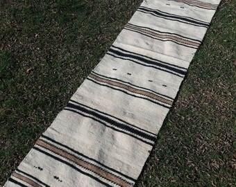 Embroidered Striped Ethnic Turkish Kilim Runner,Primitive Boho Turkish Hallway Rug,Eclectic Kitchen Runner,Organic Wool Rug 2x8feet