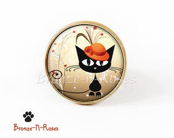Bague * Chat au chapeau orange * bijou fantaisie cabochon bronze charm pendant