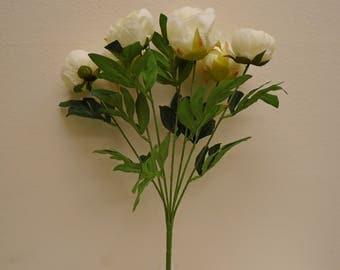 "Peony Bush Deluxe 7 Artificial Silk Flowers 20"" Bouquet 773"