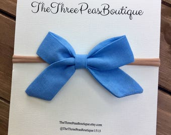 Mini Sailor Bow/ Periwinkle, Baby headband, Newborn headband, Baby bows, Baby hair bows, Toddler headband, Baby Shower Gift