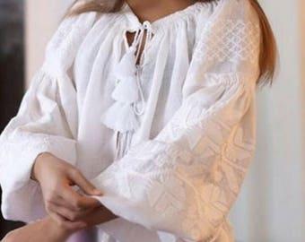 Ukrainian Boho Embroidered Women's Mini White Dress - Vyshyvanka/ Ukrainian Embroidery/Folk/Sarafan/Arabian Thobe. Sizes - XS-4XL!!!