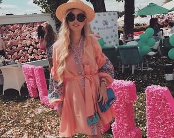 "Peach-pink Linen Embroidered Dress ""tree of life"" Ukrainian Vyshyvanka Dress Mexican Dress Kaftan Abaya, Caftan Free Shipping Boho style"