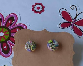 Polymer Clay, Stud Earrings, Color swirl,round