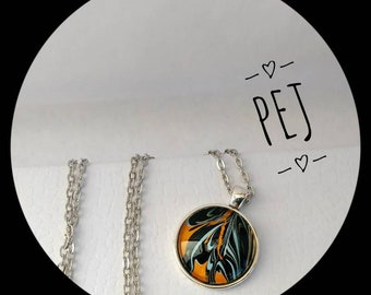 Blue/black/orange,paintpour,cabochon,pendant,necklace