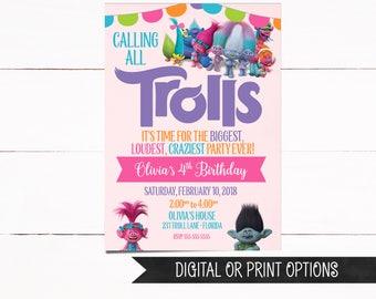 Trolls Invitation, Trolls Birthday Invitation, Digital Trolls Invitation