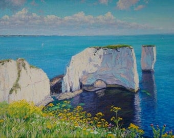 Old Harry Rocks,White cliffs of England,oil,canvas on cardboard,seascape,realism,artist Konstantin Razumeyko