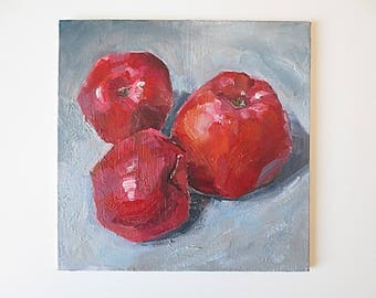 Small paintings Apples Small painting Dining room art Cheap home decor Fruit painting Cheap painting walll decor art Affordable wall art