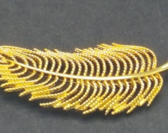 Gold Monet Feather Brooch