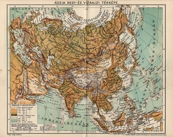 Antique relief map of Asia from 1893