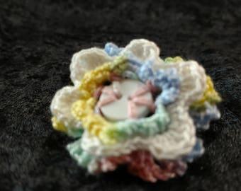 Girls Crochet Button Flower Hair Tie