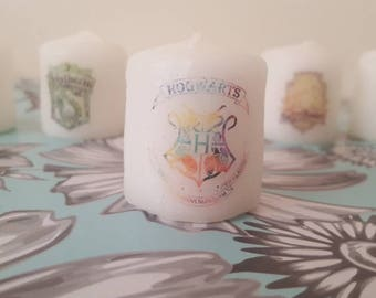 harry potter watercolour candle set. LIMITED EDITION! only 1 of this set will ever be made. totally unique