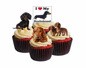 Novelty Dachshund Dog Edible Cupcake Toppers, Fairy Cake Bun Decorations X 12 Mix