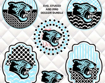 Jaguars Mascot -  SVG, Silhouette studio bundle - 6 design downloads