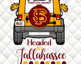 FSU - Florida State Seminoles - Headed to Tallahassee - Tailgating Jeep SVG, Silhouette studio bundle -  design download