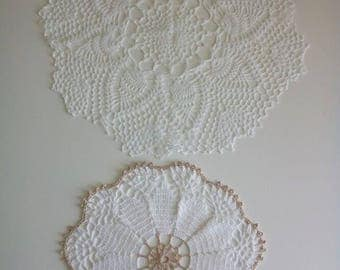 White Handmade Doilies, Table Covers, Crochet Doilies, Crocheted Doilies, Flower Doily, Flower Table Topper, Round Table Topper (2 items)