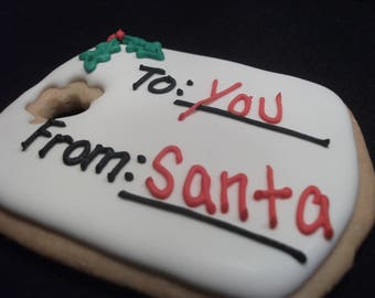 Edible gift tag cookies | Custom decorated Christmas cookies|  | Personalized name tag cookie