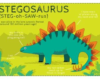 Dinosaur - Stegosaurus A4 children's print
