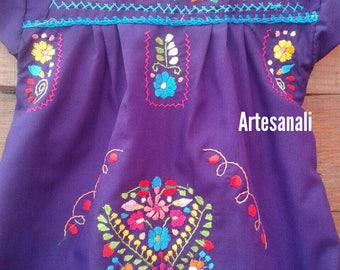 Traditional Mexican hand Embroidered size 1 years old/