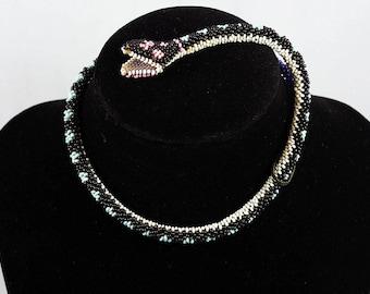Antique WWI Turkish POW Beaded Snake Necklace