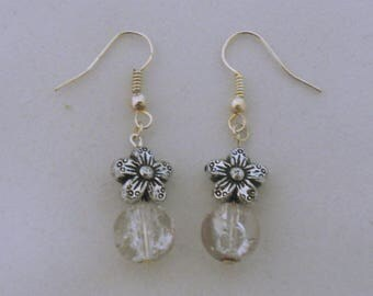 Flower and glass bead earring