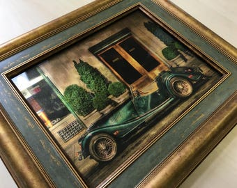 Picture on gilded glass. Green retro sport car