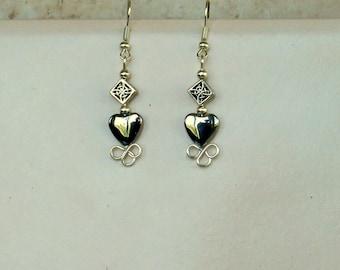 Earrings Celtic Mother's Heart Hematite